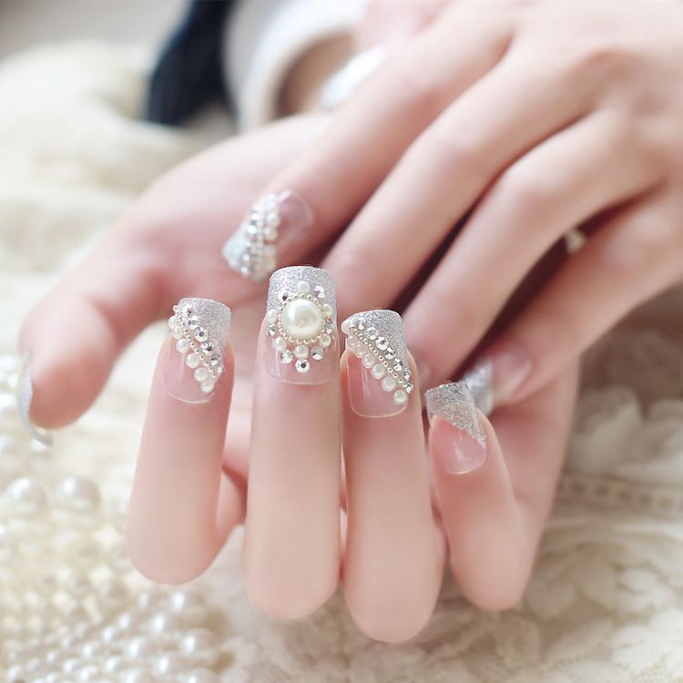 bridal prom pageant dance fake nails, faux white beaded vintage ...