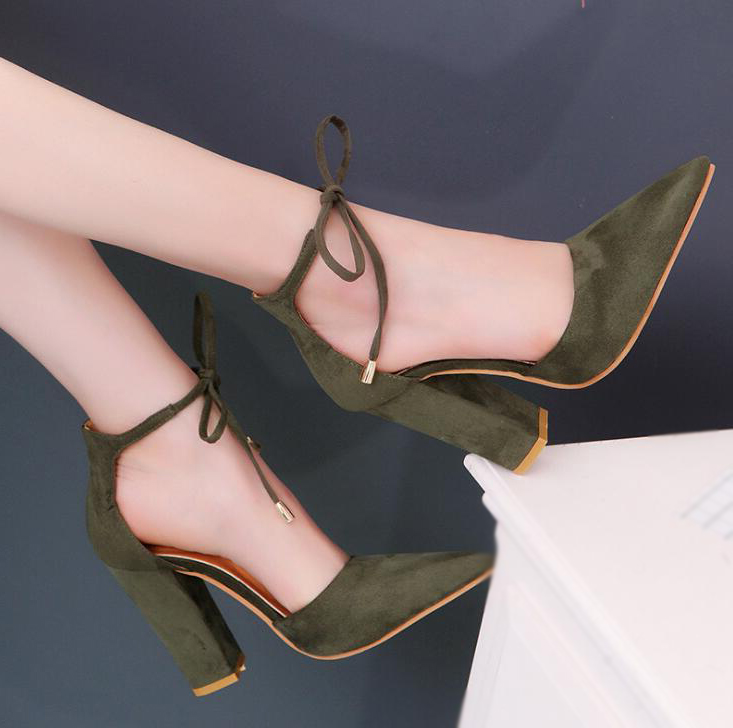 ef01e9d9b32 ... 6 Colors Pointed Strappy Pumps Sexy Retro High Thick Heels Shoes -  Thumbnail 4
