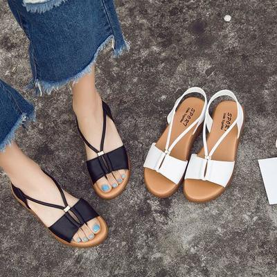 2017 summer new casual fish mouth women's sandals fashion diamonds exposed toe flat leather sandals female