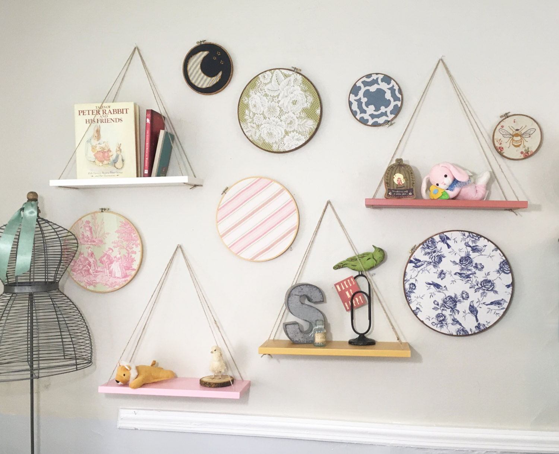 Hanging shelves - Set of 4, Hanging planter, Kids room, Childrens ...