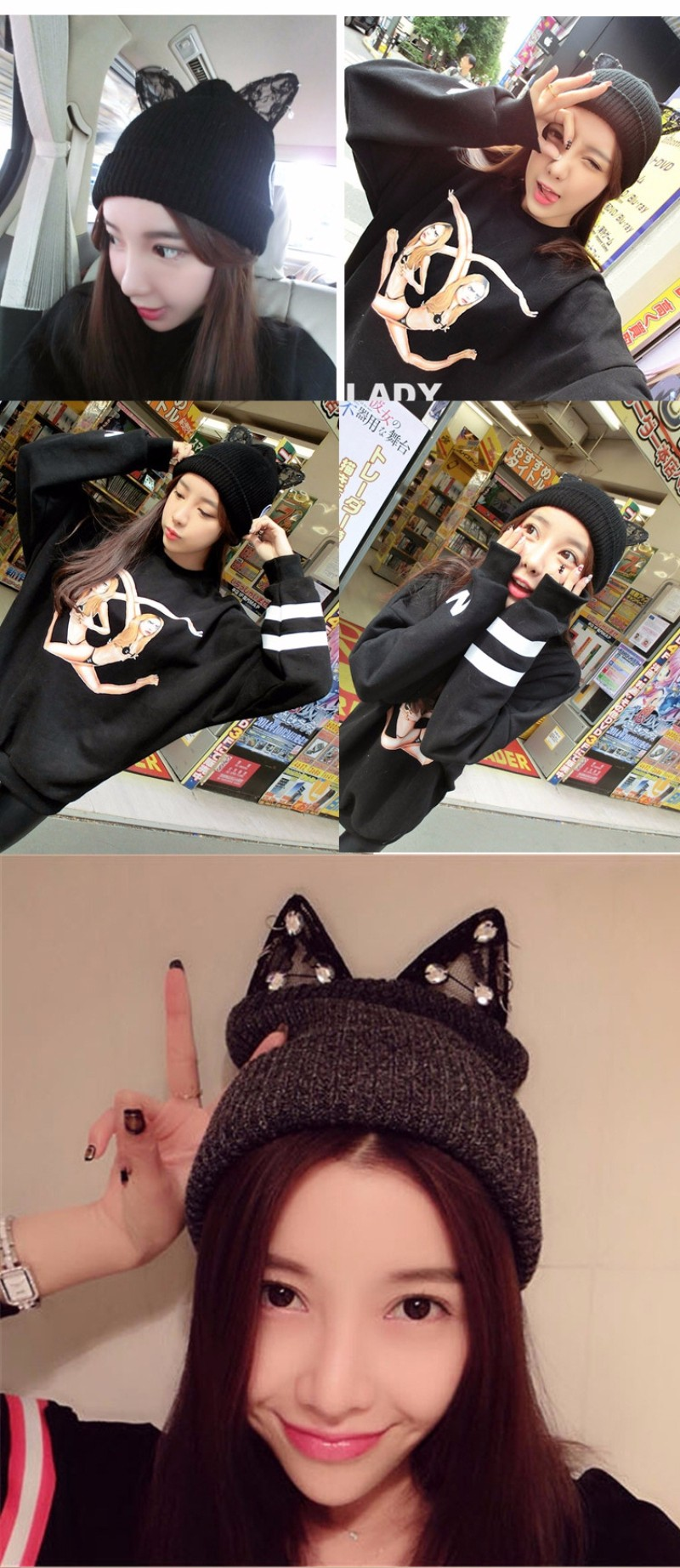 25813a81 Kawaii 20clothing 20cute 20ropa 20harajuku 20cat 20hat 20beanie 20cap  20ears 20lace 20jewels 20gato 20gorro 20orejas 20black