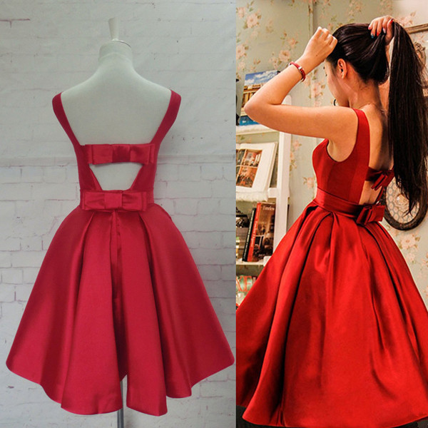 9365d4e6477 Elegant Red Satin Off the Shoulder Backless Homecoming Dresses Short Prom  Dresses