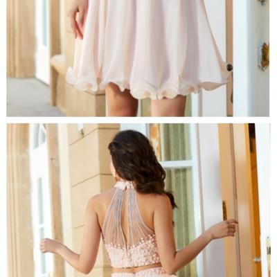 488cf717bae A-line princess halter beading sleeveless chiffon short mini two piece dresses  short