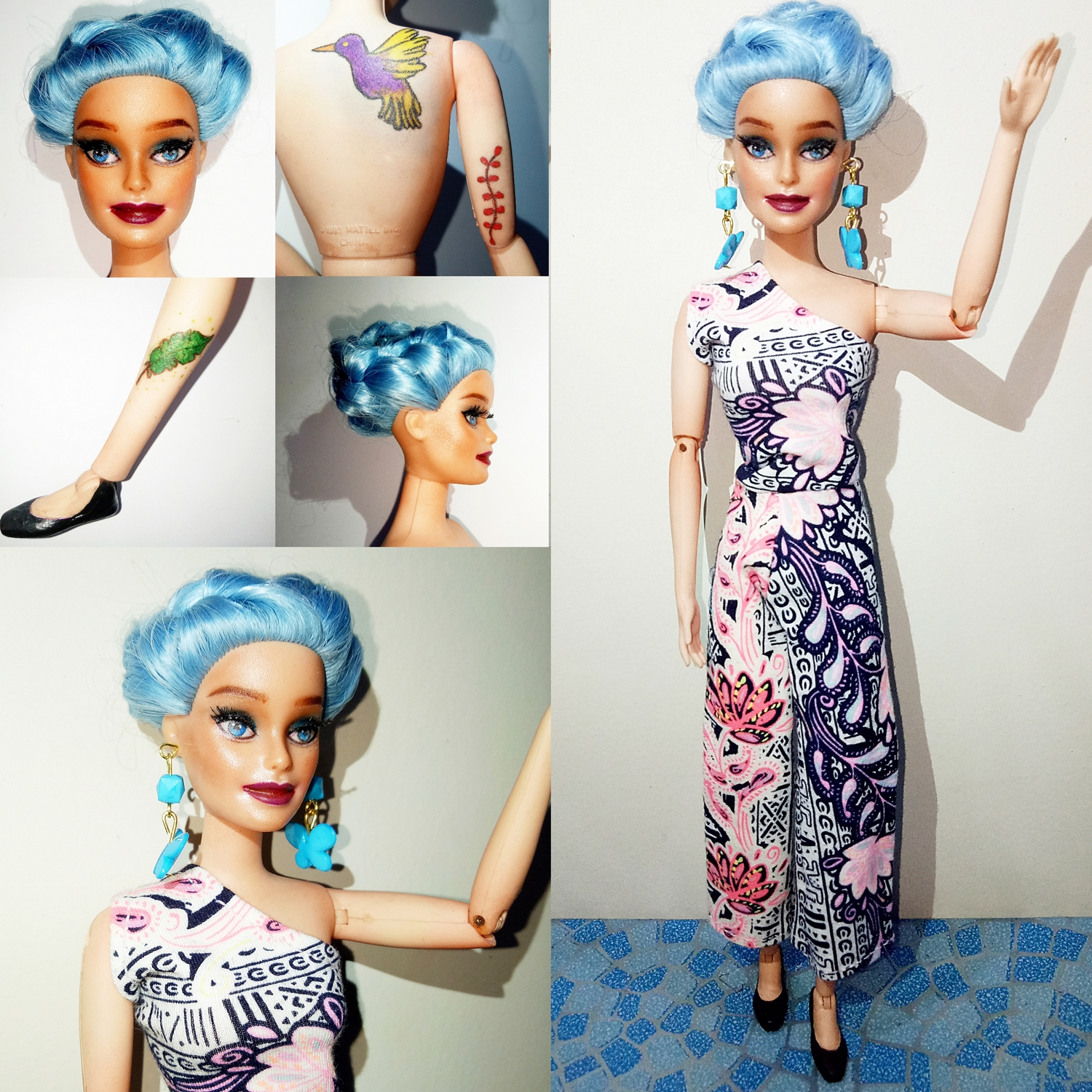 Ooak Barbie Doll Repaint Twist And Turn Body And Blue Hair By Kfm Barbierobertsstuff Online Store Powered By Storenvy