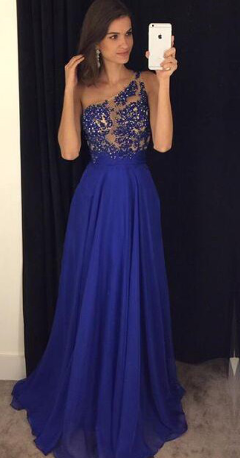 Royal Blue Celebrity Dresses Prom Gowns Lace And Beads