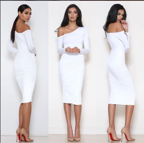 Elegant White Prom Dress One Shoulder Knee-length Satin Prom Dresses ...