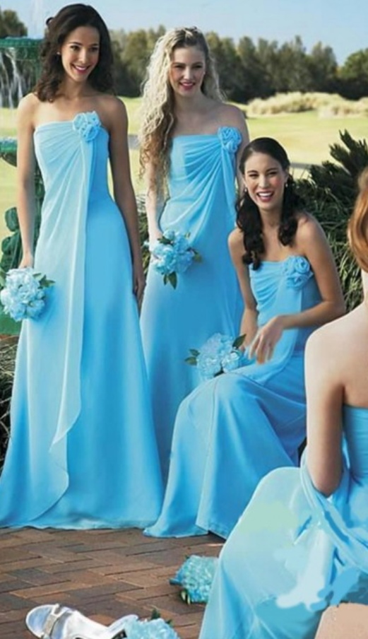 Sky Blue A Line Strapless Floor Length Chiffon Long Bridesmaid Dresses Cheap Under 50 Wedding Party Dresses From Olesa Wedding Shop