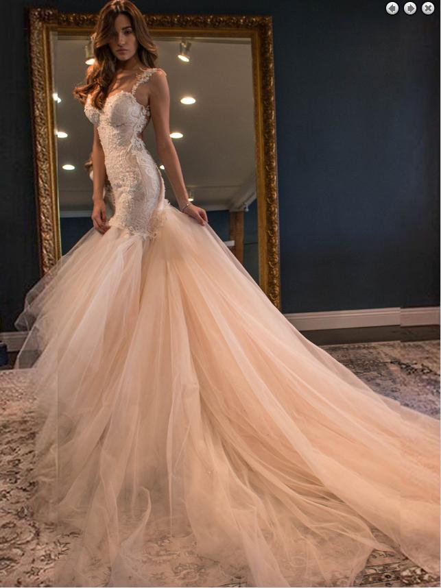 bffc722952 Elegant Mermaid Sweetheart Watteau Train Backless Peach Wedding Dress with  White Lace Backless - Thumbnail 1 ...