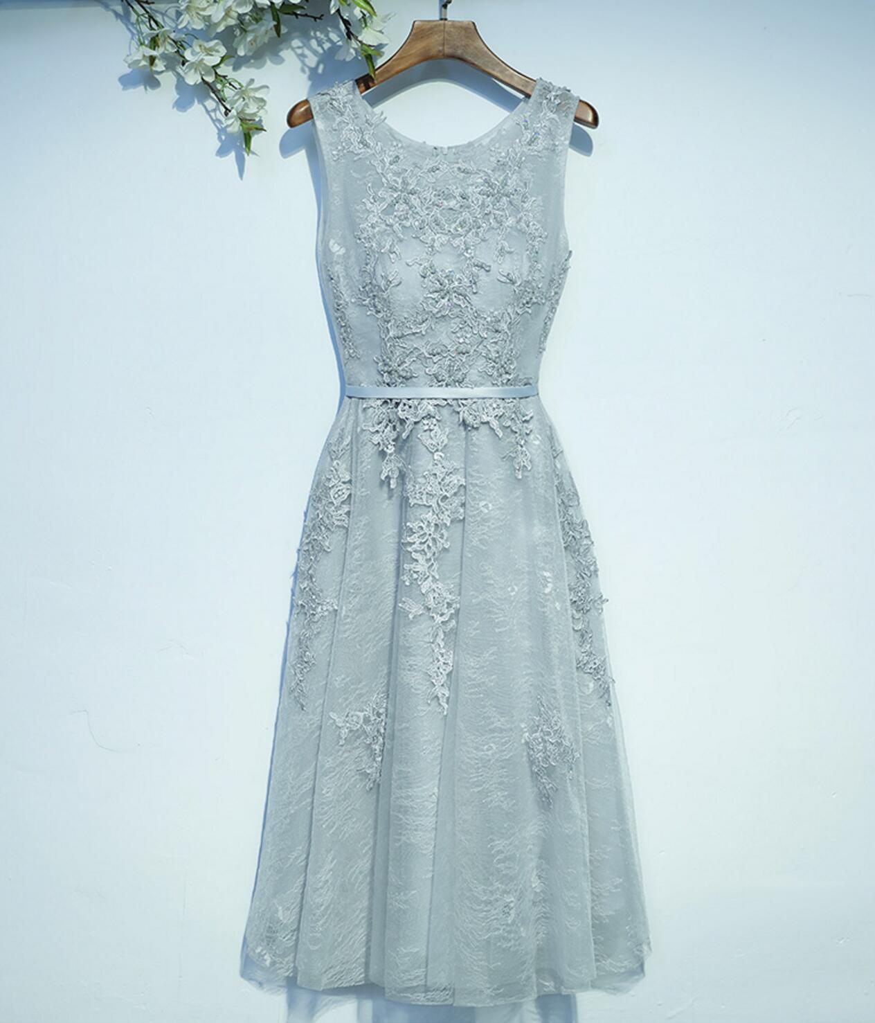 f7b260e7048 Gray Lace Round Neckline Homecoming Prom Dresses