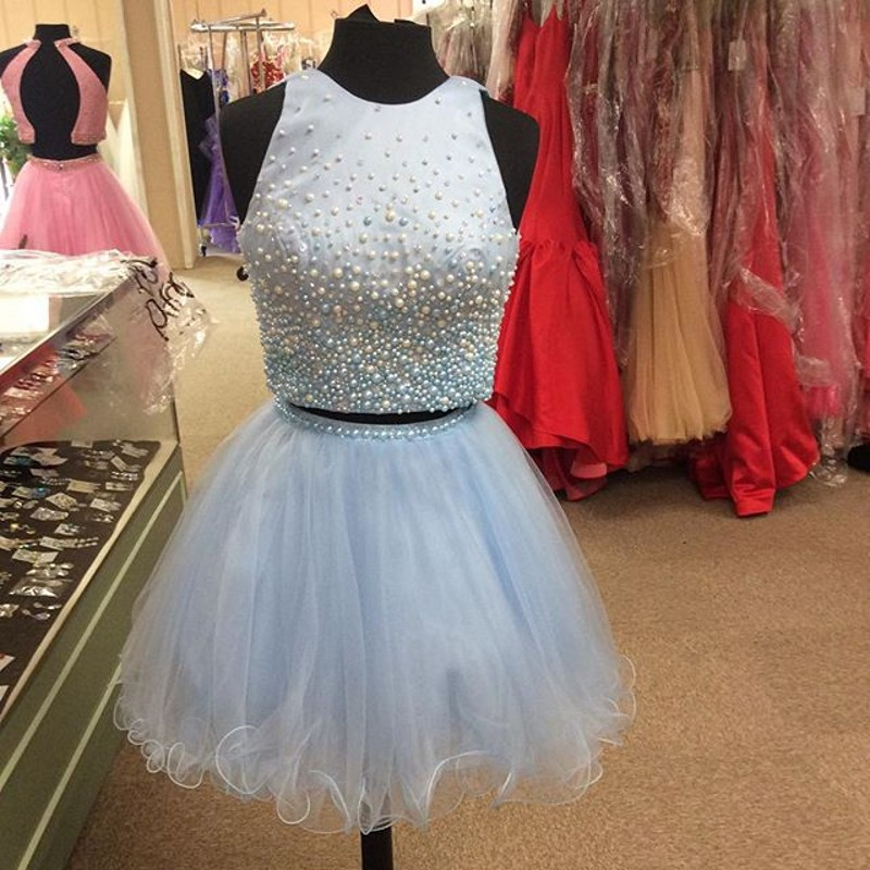 adb97c7aab1 Pearl Detailing Two Piece Homecoming Dresses