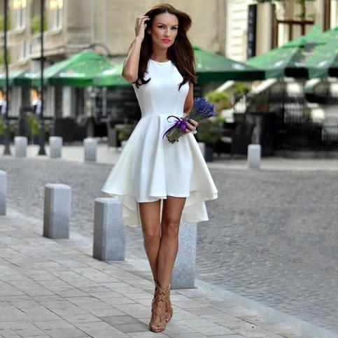 White Prom Dresses, A-line Satin Asymmetrical Short ...