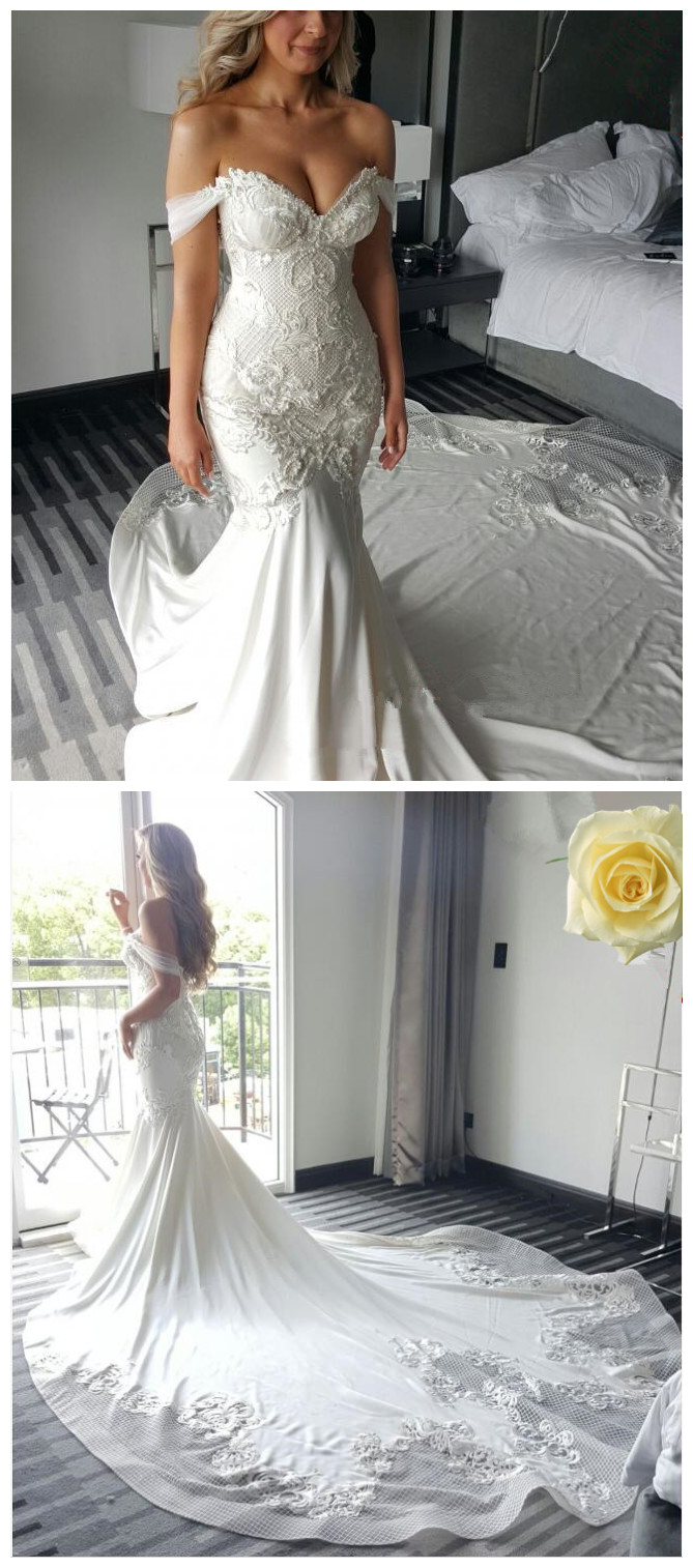 607b2178061b3 Off-the-shoulder Delicate Mermaid Train Lace-Appliques Wedding Dress ...