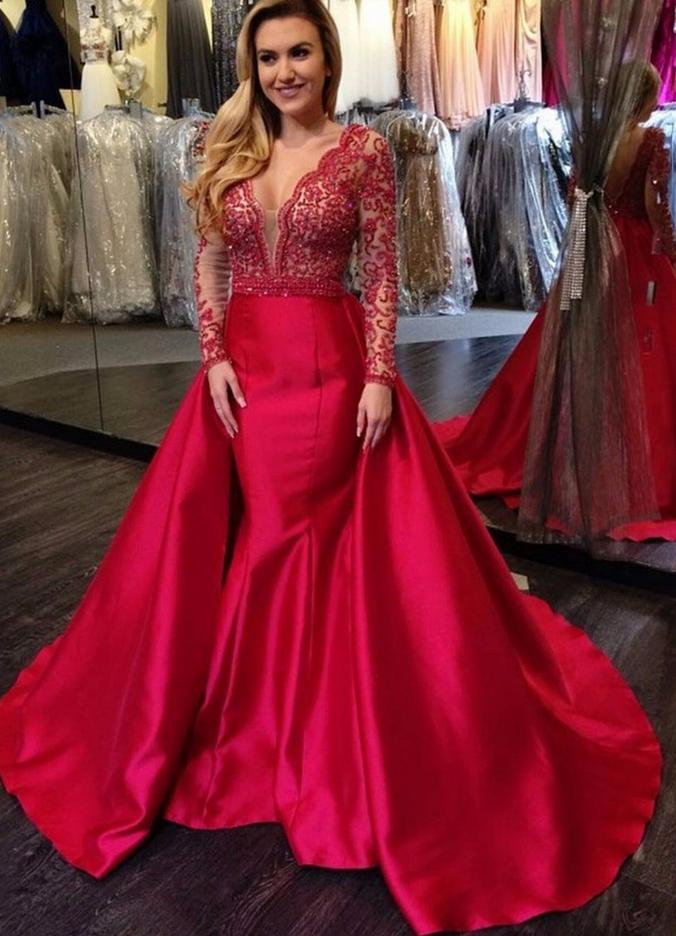 V Neck Luxury Red Beading Mermaid Long Sleeves Open Back