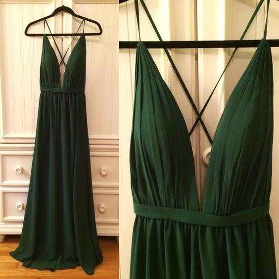 XP378 Hunter Green Prom Dress,Backless Evening Dress,Fashion Prom ...