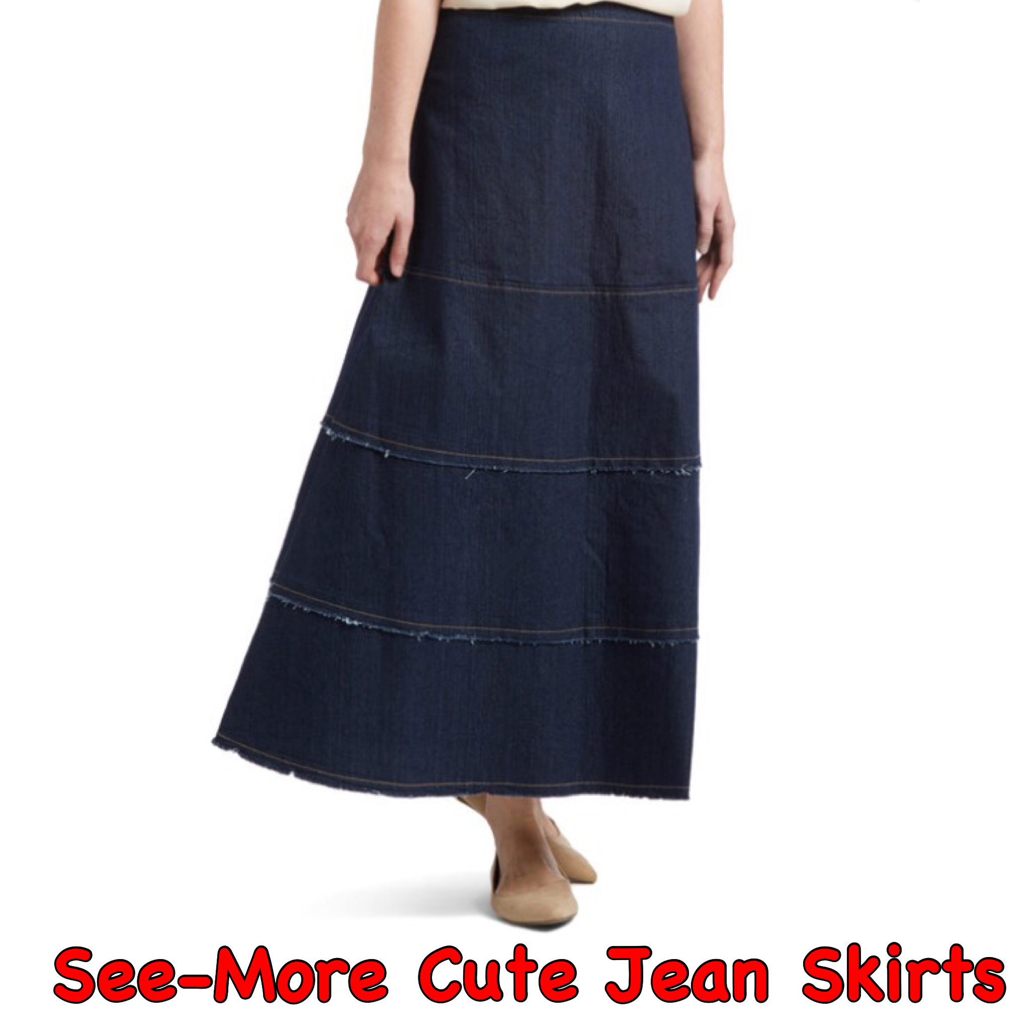 e5e65dfd6f HAYLEY LONG BLUE TIERED MODEST DENIM SKIRT · See-More Jean Skirts ...