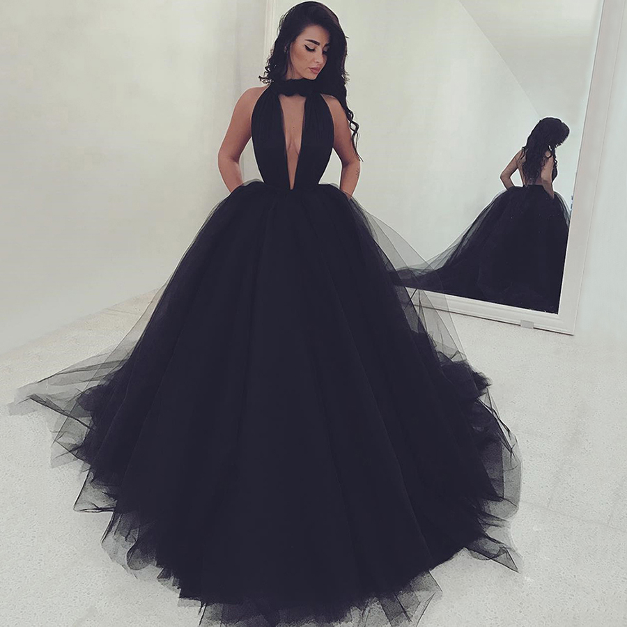 Hot Black Backless Prom Dresses, High Neck Ball Gown Evening Gowns ...