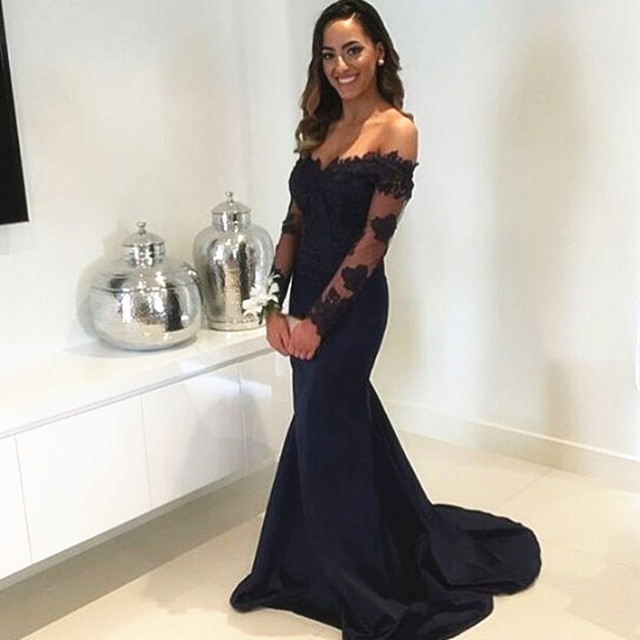 Long Sleeves Prom Dressnavy Blue Formal Dressoff Shoulder