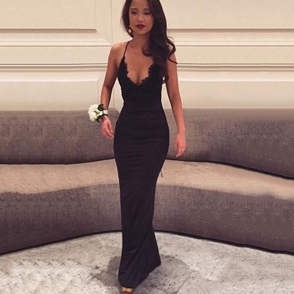 Long Prom Dresses Unique Sheath V Neck Black Formal Dresses For