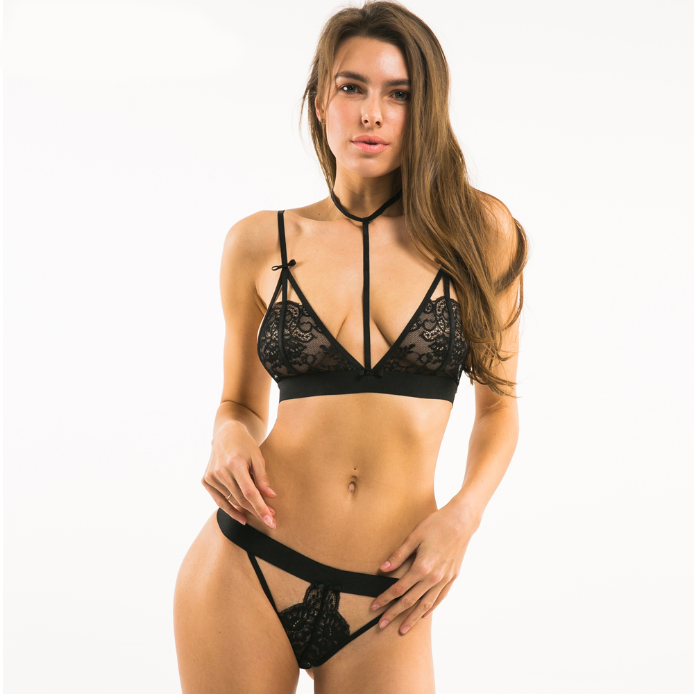 Women Black Sexy Lace Bralette Bow Cut Out Panties Halter Jacquard Underwear  Soft Choker Bra Sets on Storenvy 7bc560d61