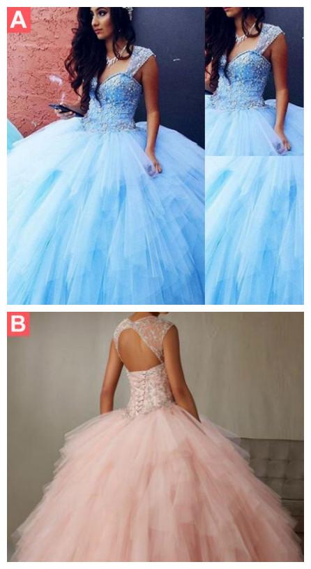 43e70fc154419 Blue Quinceanera Dresses Vestidos de 15 anos Aqua Stunning Ball Gowns  Spaghetti Straps Beaded Sweetheart Sweet