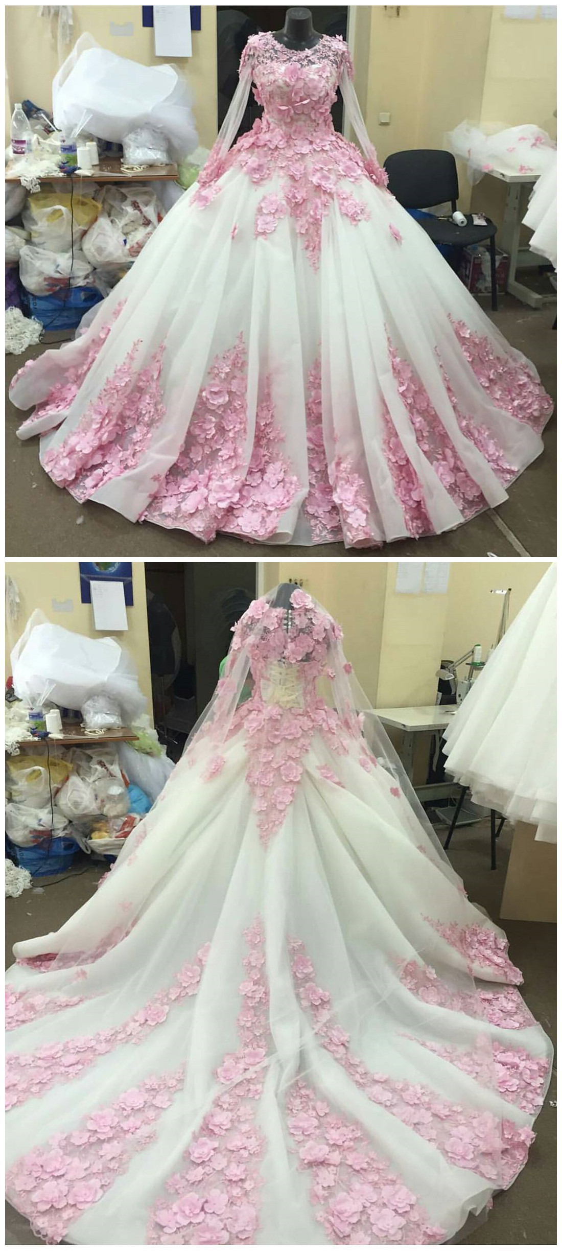 Pink Flower Long Sleeves Organza Ball Gown Wedding Dresses Olesa
