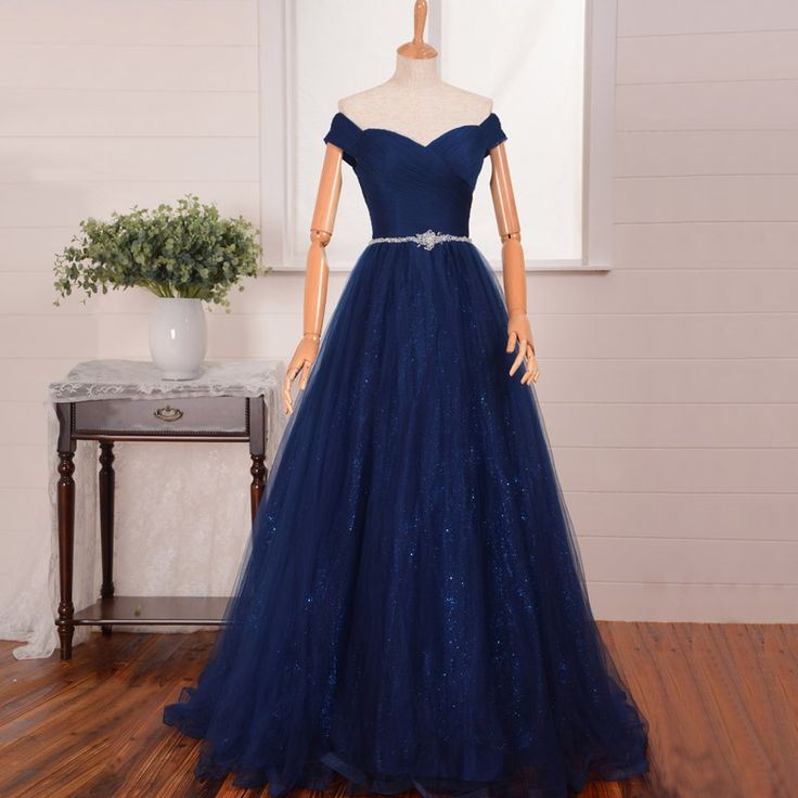 c04d312119 Elegant A-line Prom Dresses, Off-the-shoulder Tulle Sequined Formal Party