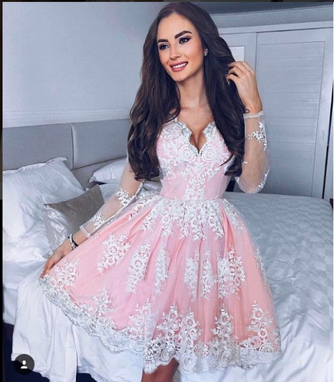 0eef6cd0e425 Charming A line v neck long sleeve lace short prom dress, lace homecoming  dress