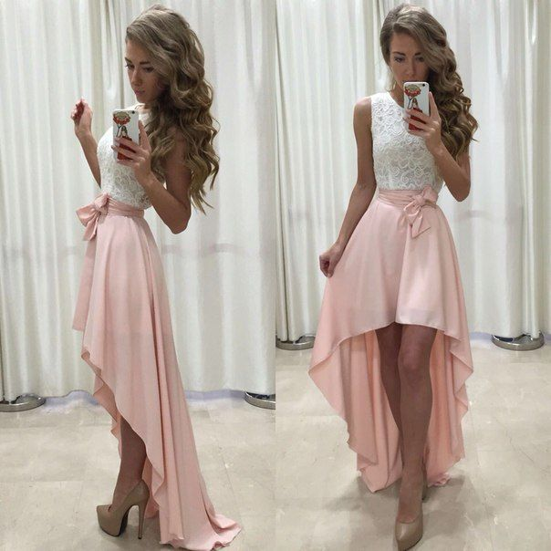 Custom made white and pink high low prom dress, lace evening dress ...