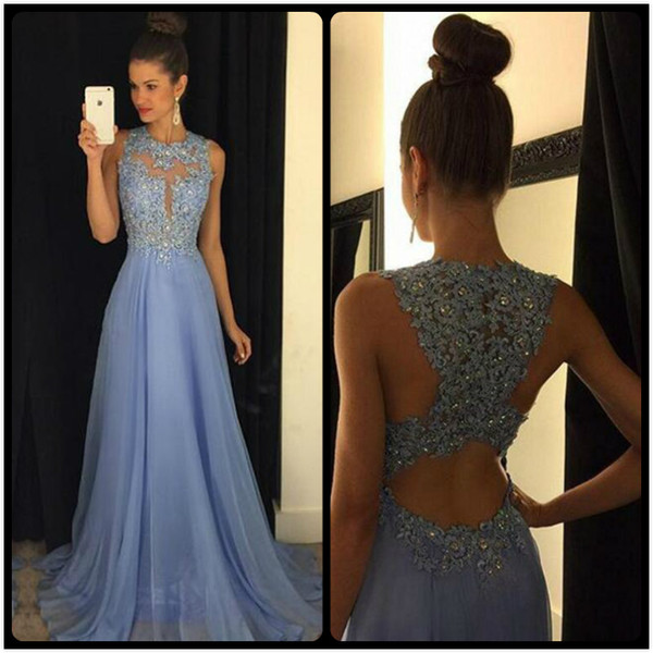 Elegant Long Lace Chiffon Prom Dresses Formal Evening Gowns 18197 ...