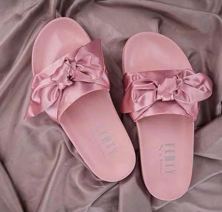 1b3cde8cfb8f Puma X Fenty Bandana Slide Bow silver pink Slippers on Storenvy