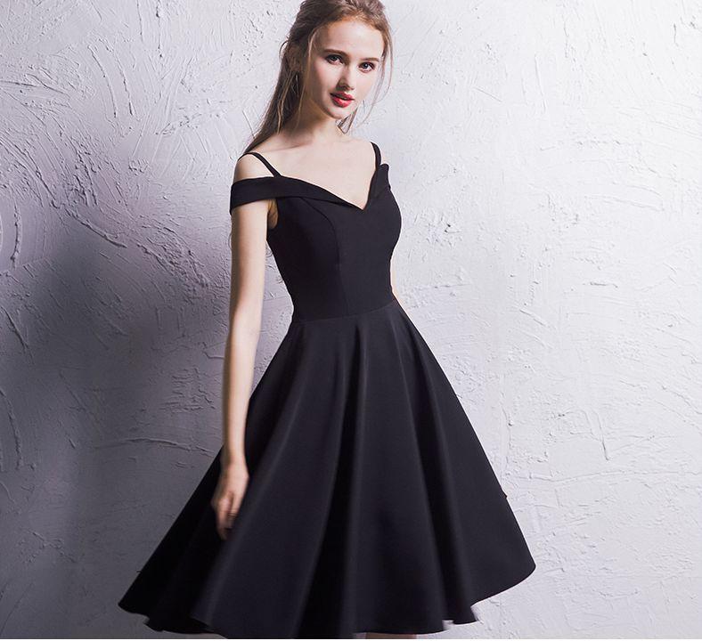 edc49bfe89b Stylish black off shoulder short prom dress