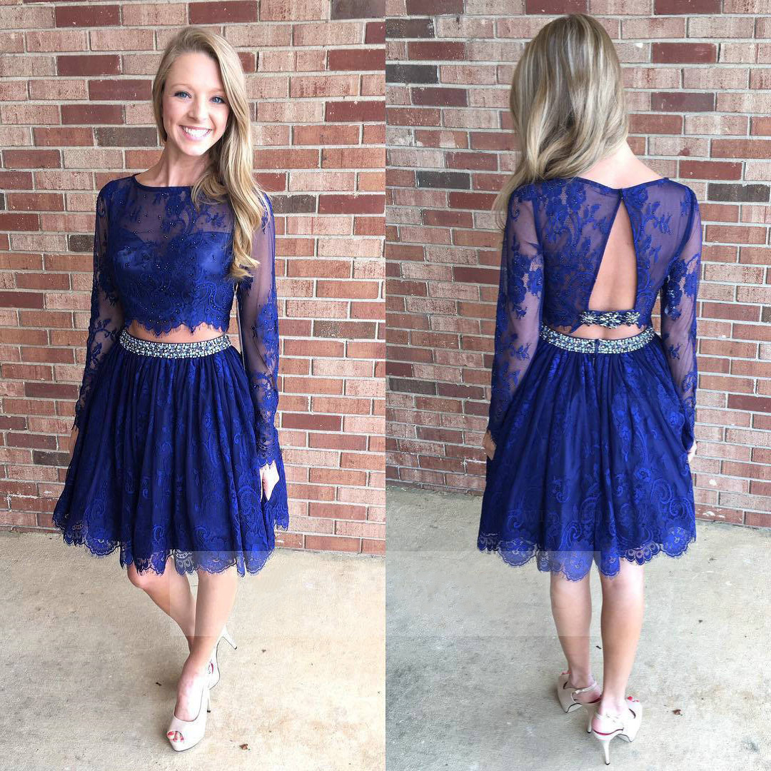 5f79540b65 Two piece blue homecoming dresses long sleeve lace homecoming dresses  illusion neck knee length short prom