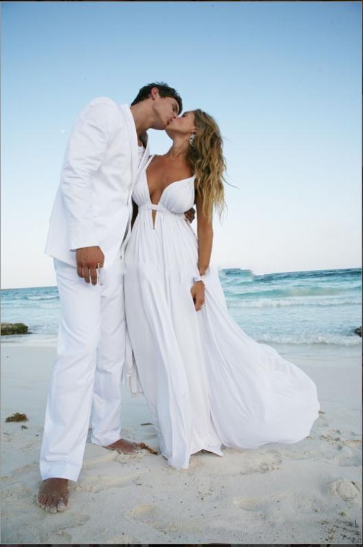 Sexy Wedding Dresseswhite Chiffon Deep V Neck Wedding Dresses
