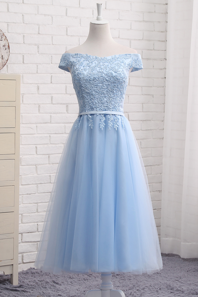 Cute a line lace off shoulder prom dress, lace evening dresses on ...