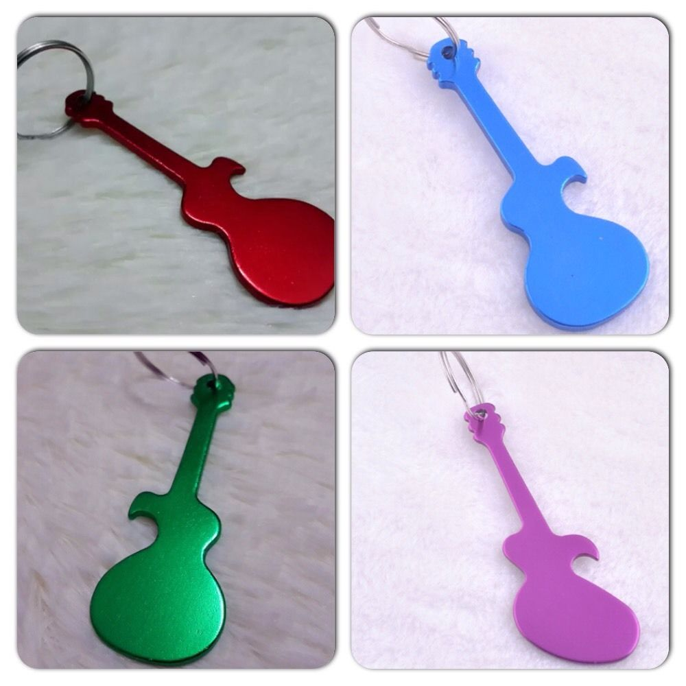Dad, You Rock! Custom Stamped Guitar Bottle Opener Key Ring  Comes In 5  Colors!! from Whimsical Forest