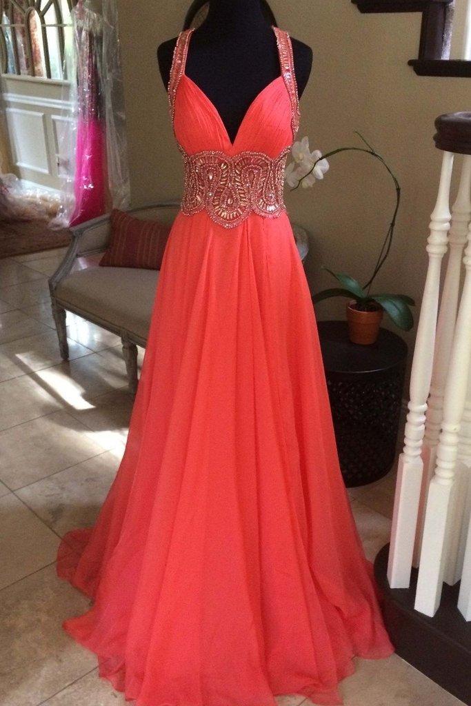 Coral chiffon beading V-neck long dresses,handmade long prom dress ...