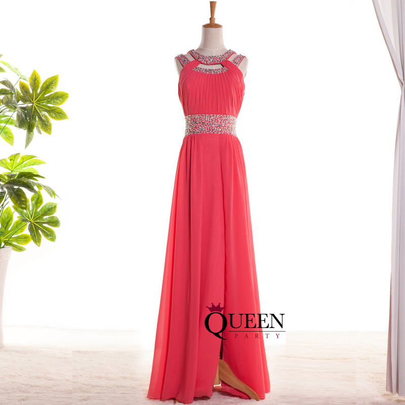Designer Watermelon Red Chiffon Beaded Sequins Cut Out Long Prom ...