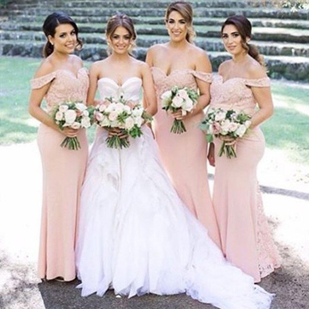 Blush Bridesmaid Dresses Off The Shoulder Pemerintah Kota