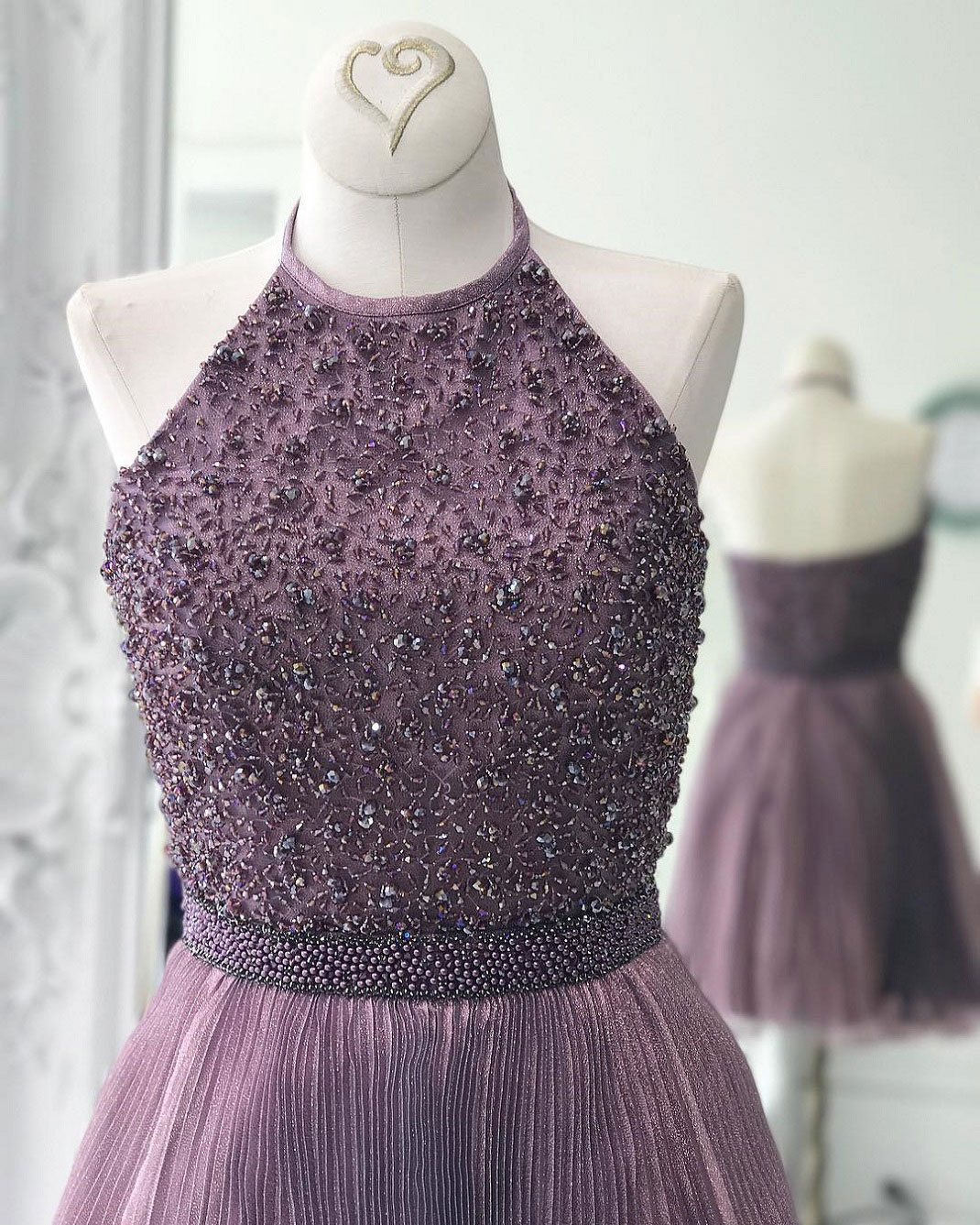 d36215c2 Sparkly Beaded Homecoming Dresses,Halter Homecoming Dresses,Wisteria ...