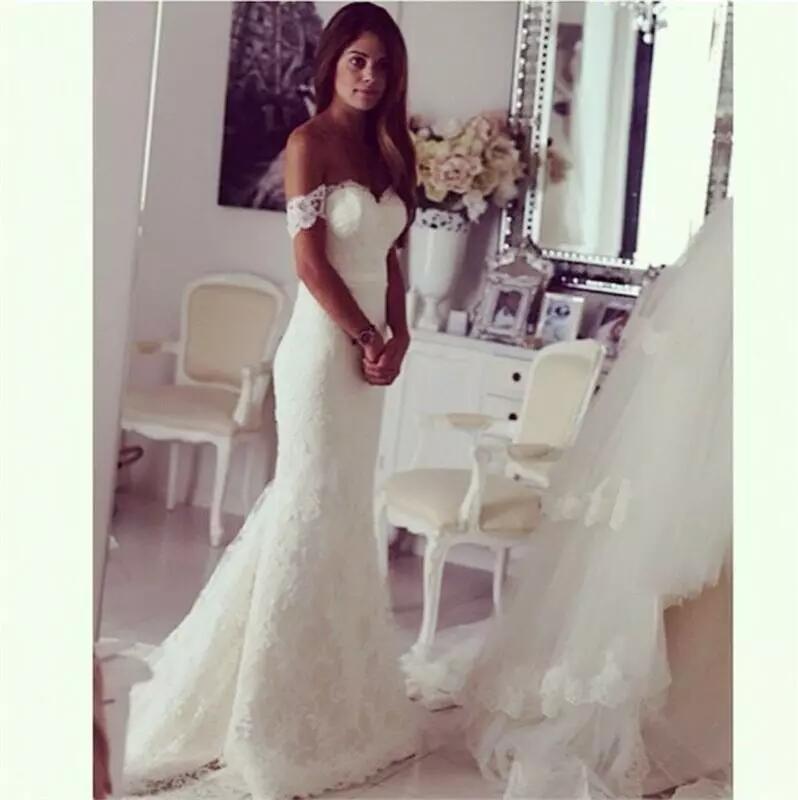 Off The Shoulder Bridal Mermaid WEdding Dresses 2016 Lace Wedding ...