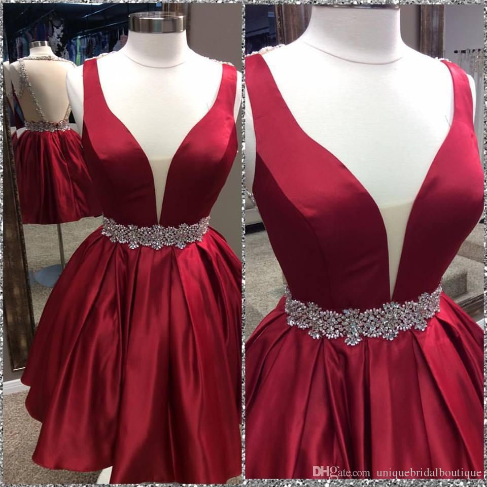 2b1130bea2 Cute 20a line 20dark 20red 20homecoming 20dress 20with 20open 20back  original