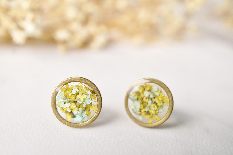 Golden resin Stud Earrings