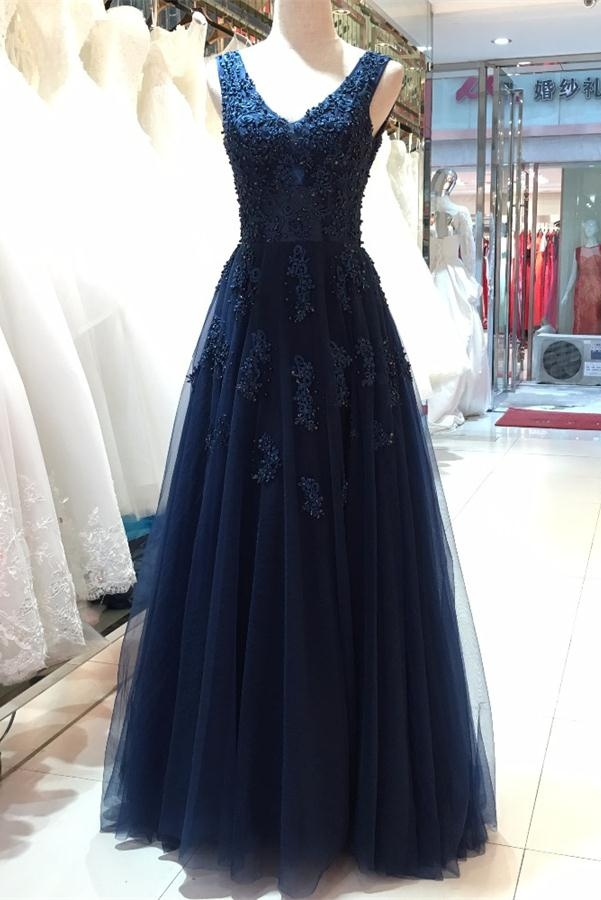 Floor Length V-neck Prom Dresses,Open Back Evening Dresses,Beautiful ...