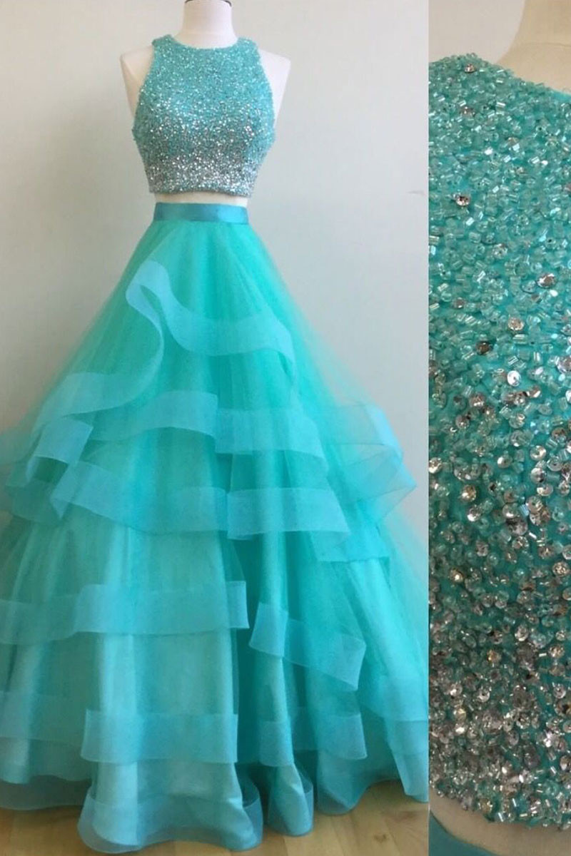 7942105fb49 Green 20two 20pieces 20sequin 20tulle 20long 20prom 20dress 2c 20green  20evening 20dress original