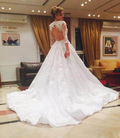gorgeous bridal ball gown with open back long sleeve wedding dress with train beautiful prom. Black Bedroom Furniture Sets. Home Design Ideas