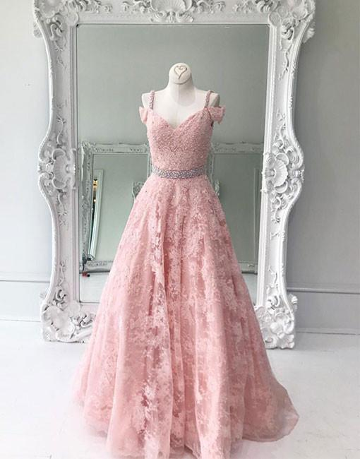 5182a9a72143 Beautiful A-Line Off-Shoulder Pink Lace Long Prom/Evening Dress ...