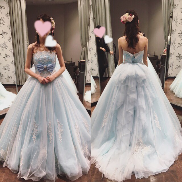 Blue Bridal Ball Gown With Bow Lace Wedding Dress With Open
