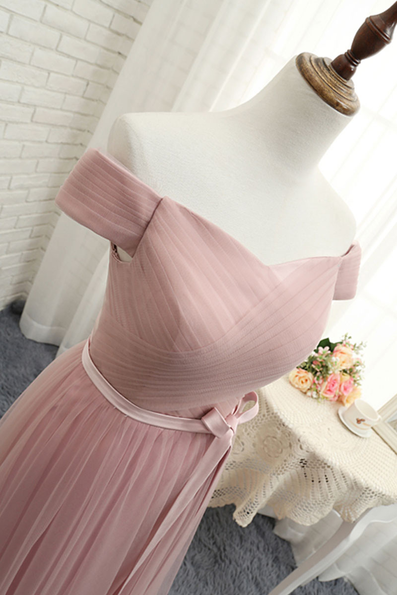 bb661b2c2b11 Elegant Blush Tulle Bridesmaid Dress,Long Off Shoulder Prom Dress with  Sash,Sweetheart Bridesmaid