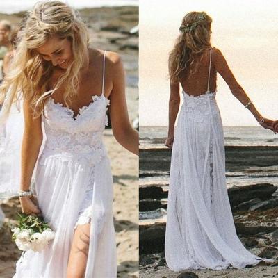 84b4d64518 P384 Spaghetti Straps Long Summer Beach Wedding Dress