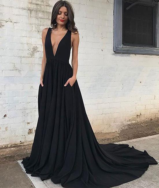 Custom made black v neck chiffon long prom dress f3a690b8c